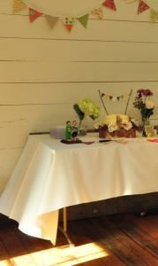 Grange Hall Rental From $100, Old Alabama Town, Montgomery — Vintage-style cake display inside our Grange Hall