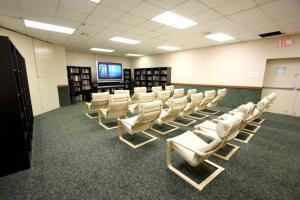 Summit 1, Honor's Haven Resort & Spa, Ellenville — Complete with a 72inch television and theater chairs, makes it a great choice for a training session or meetings.