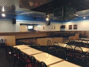 Banquet Room, Looney's Southern BBQ, San Leandro — Holds 150 people, with dance floor, laser lights, DJ/Karaoke machine, large screen TVs and high speed Wi-Fi.  Great for parties of business conferences.