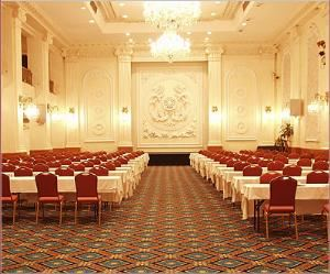 Grand Ballroom, New Yorker Hotel, New York — Whether you need sufficient space for a New York City conference, tradeshow or both the Grand Ballroom lives up to its name. Grand in size and structure the highlight of our meeting capabilities is our Grand Ballroom with 30-foot high ceilings, a 7500 square foot floor space, and an impressive balcony that overlooks the main floor. This room can seat up to 275 for dinner, 450 theater-style, 300 classroom-style or grand reception of 600 people.