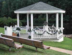 Exclusive Wedding Package - 12 hours total, Cedar Crest Conference Center, Green Bay — Our large, white gazebo sits on a quiet lake and is perfect for outdoor weddings and photo ops. Several benches can seat up to 100 people. Just a short walk back up the sidewalk to the conference hall.