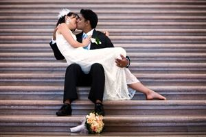 Full Day Wedding, Martino Mingione Photography, San Bruno — Romantic shot while sitting at a staircase