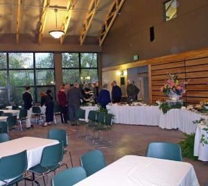 Hankison Great Room, W.W Knight Nature Center & Hankison Great Room, Perrysburg — Photo of interior of Hankison Great Room. Setup, tablecloths, tablewear all provided by renter.