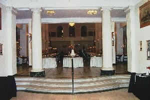 The Cheesecake Lady Catering Company, Tulsa — The Mayo Hotel for a stunning evening wedding reception in black, white and red.