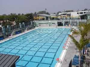 Sun Deck, Santa Monica Swim Center, Santa Monica — View of the Fitness pool with the Sundeck and meeting rooms.