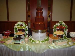 Heavenly Chocolate Fountain, Flat Rock  Have the latest craze at your event!  A cascading chocolate fountain waiting for you to submerse your favorite dessert in it.  It will be Love at first dip for you and your guests.  Add a taste of heaven to your party!