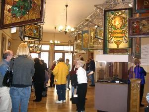 Meyer Memorial Trust Gallery, Architectural Heritage Center, Portland — Visitors enjoy historic Povey Brothers stained glass windows from the Bosco-Milligan Foundation collections.