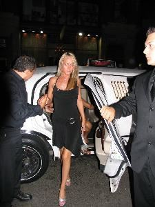 Party Buddys, West New York — Stephanie, of Westwood NJ,steps out of her limo and into the spotlight with PartyBuddys for her bachelorette party.