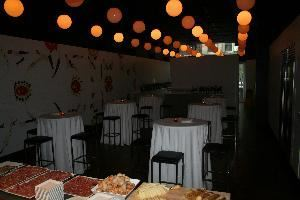 New York Vintners, New York — Event space set up for wine reception/casual buffet event