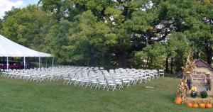 Outdoor Wedding, Tinker Swiss Cottage Museum and Gardens, Rockford — This outdoor wedding took place under the 200 year old White Oak tree that stands adjacent to the 1865 Swiss Cottage.