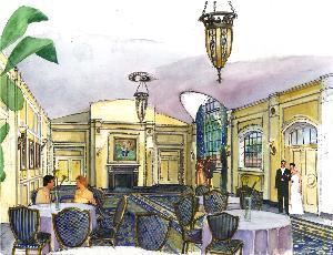 Dyker Beach Golf Course Great Hall and Banquet Room, Dyker Beach Golf Course, Brooklyn — Artist rendering of renovated Dyker Beach clubhouse great hall - can be used as pre-function or function space with access to beautiful new terrace area overlooking Dyker Beach Golf Course.