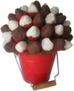Fruity Bite Bouquet, Polson — Our most popular wedding bouquet!  Dark and White chocolate cover these delicious strawberries!  Container Color/and or Theme can be coordinated to match your wedding if desired!  You guests are sure to love this fresh idea!