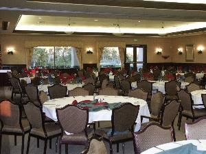 Banquet Room, Sierra Lakes Golf Club, Fontana — Our wonderful and spacious ballrooms have views of the surrounding mountains, lakes, and golf course and are adjacent to our outdoor wedding garden complete with gazebo.