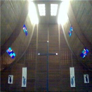 Ascension Lutheran Church, Columbus — Beautiful Stained glass accents this traditional worship center. Grand arched ceilings with skylights and stained glass. Padded wooden pews. Custom built German handcrafted pipe organ.