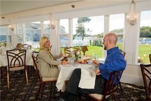 River Room, Nonantum Resort, Kennebunkport — The River View Room is often set for dining. Doors can open up from the Main Ballroom to create one grand space.