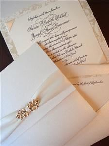 Deborah Nadel Design, Merrick — Calligraphy wedding invitation with gold embellishment and pocket for enclosures