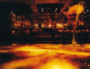 Onyx, Thin, San Diego — Martinis are served on Onyx's underlit onyx bar top.