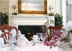 Founders Room, The Middlebury Inn, Middlebury — The Elegant Founders Ballroom is the perfect location for that special occasion.  High Ceilings, Pillars, Bay Window, Fireplace, Very Romantic!