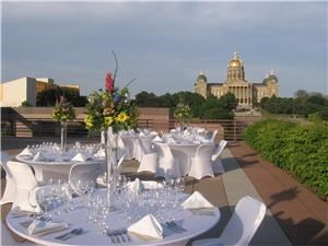 Baratta's Restaurant and Catering, Des Moines — The terrace at the State Historical Building offers the absolute best view of downtown Des Moines.