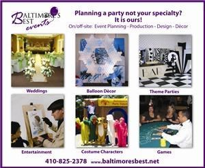 Baltimores Best Events LLC, Towson — Baltimore's Best Events offers a fully equipped banquet hall at CONFETTI'S Event Center, which comfortably seats up to 150 guests and features ample free parking, kitchen, tables, chairs, dance floor and a stage. In addition to providing our venue, we specialize in offering the following services: