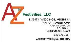 A to Z Festivities, LLC, Harrison — Event, Meetings, and Wedding Coordination is the speciality of A to Z Festivities, LLC.  A Certified Meeting Professional will be with you through every step of the process to make your event the success you want it to be.