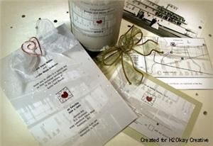 Hook Graphic Design, Inc, Summerland — Custom designed wedding invitations, wine labels, RSVP card, and map.