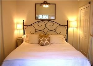 Cottage 1, Cypress Creek Cottages, Wimberley — King bed with memory foam mattress.