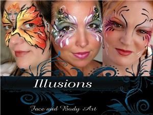 Illusions Face and Body Art, Finksburg — Illusions transforms each person into an original living work of art. Specializing in fantasy face painting, body painting, henna, glitter tattoos and photography.