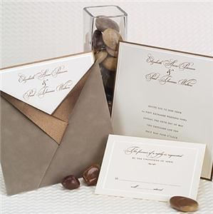 By Invitation Only - Orlando, Orlando — A suede pocket and fine ivory linen paper evokes a style of elegance and romance with a modern twist.
