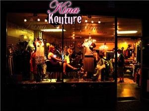 Kina Kouture, Dunedin — Kina Kouture is a haute couture boutique in downtown Dunedin, Florida (near Tampa, Clearwater, Palm Harbor and St. Petersburg) featuring a kaleidescopic variety of industrial chic women's clothing. Our high-end women's apparel is selected from the best of contemporary fashion design. Vintage reproduction styles like Stop Staring brand is sure to turn heads. We travel extensively to find apparel with classic lines that also include a little edge.