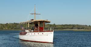 GRACE - Yacht Charter, The Inn at Palmetto Bluff, Bluffton — Engine: Original – 4-cylinder, 50 HP 20th. Century gasoline marine engine. Present - Caterpillar 3116, 350 HP diesel marine engine