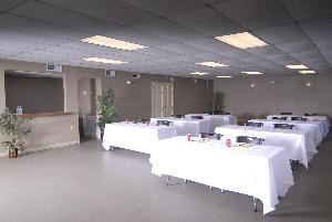 Pelican Room & Marina Pavilion, Chalmette — The Pelican Room arranged for a typical business conference or class.  Drinks, light breakfast and box lunches are available on-site.