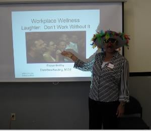 Laughs R Us, Roslindale — Picture of Dorothea presenting at Boston Public Health Wellness Forum.