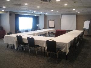 Hudson Room, Doubletree by Hilton Hotel Jersey City, Jersey City — Newly renovated 1350 square feet of function space.  Maximum capacity of meeting room is 90 banquet and theatre style which does not include audio visual set up or food and beverage set up.