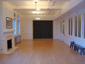 Dance Studio, Northwest Neighborhood Cultural Center, Portland — The Anna G. Bennett Dance Studio now has mirrors and bars on the wall across from the fireplace. Phase 1 of soundproofing has been installed on each end of the room.