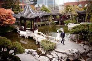 Lan Su Chinese Garden, Portland — Lake Zither and surrounding pavilions