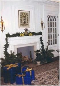 "The Reception Room, Greystone Hall, West Chester — The Reception Room with Blue ""Presents"" and Ornaments"