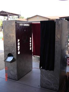3 HR WEEKDAY photo booth w/ scrapbook, DVD, Unlimited pics, Attendant, Props, Custom Event graphic, Time Of Your Life Photo Booths, Glendale — Swirled Stainless Steel Photo Booth