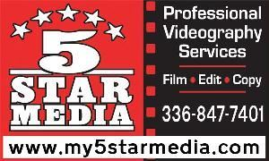 "Light Star - Wedding Videographer Package, 5 Star Media - Fayetteville, Fayetteville — 5 Star Media is a Internet and video ""content creation service"" company serving clients from the North Carolina, Piedmont Triad area. Utilizing high definition camera equipment as well as a state-of-the-art computer digital editing techniques, 5 Star Media can produce your business videos or home Hollywood project for tape, multimedia or the Internet with experience and skill. The creative minds behind our design, special effects, and sound creatively present your finished production at its best using both digital and analog technology."