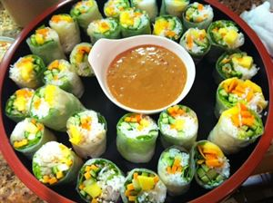 The Dragon, Blue Fish Catering, Dallas — Delicious summer rolls served with our spicy peanut sauce
