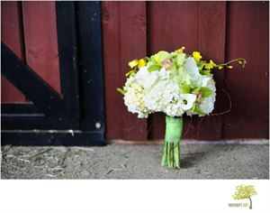 Shabby Chic Wedding Package, Cynthia's Fine Flowers, Pickens — Hydangea bouquet with angel vine and orchids