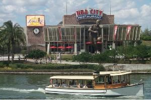 "NBA City, Orlando — Get in the game at NBA City! Twice voted ""Orlando's Best Theme Restaurant"", NBA City offers exceptional food and exclusive NBA programming on 30 TV's.  Get authentic NBA gear and personalized jerseys in the NBA Store or test your basketball skills in our Interactive game area."