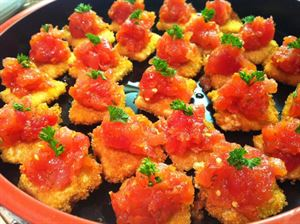 The Sumo, Blue Fish Catering, Irving — Delightful bites of our tuna tartar on crispy rice!