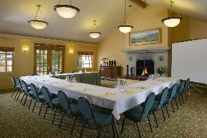Fireside Room, Best Western Half Moon Bay Lodge, Half Moon Bay — 900 Square Feet, with vaulted ceilings ranging from 10-12 feet high. Decorated in the French Provincial style, the Fireside Room has lots of natural lighting, with French doors that lead to the patio area.