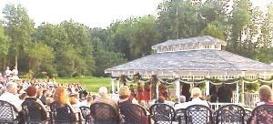Gazebo, Peach Brandy Cottage, Dawsonville — Your family and friends sit in comfortable restaurant chairs in our 3 tier Amphitheater for your Ceremony.