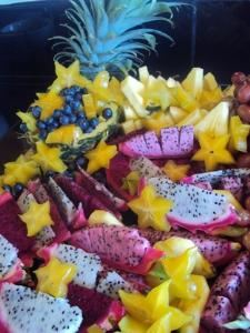Color Catering, Captain Cook  Our Seasonal Tropical Fruit Platter with Dragon fruit, Star fruit and Pineapple