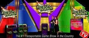 "Brain Wash Game Show, Riverside — The Brain Wash Game Show is as close to being on a real TV game show as you can get. Real contestant podiums with flashing lights, digital scoring, and a lightning fast ""Lockout System"" keeps the action going. Custom animated lit backdrops and big viewing screens makes any area into a TV game show studio. Brain Wash isn't a host reading questions from preprinted cards or a book. All of the questions are projected onto screens allowing everyone, including the audience, to be part of the game and allows for a huge assortment of visual questions as well as audible questions to be presented. The games are fast paced and can be customized to include specific questions from a school, company, or just for the fun of it. All of this combined has made the Brain Wash Game Show the largest game show in the country. Don't miss out on bringing this exciting, interactive show to your event."