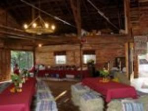 J. C. Stribling Barn, Sleepy Hollow, Clemson — Stribling Barn set up for Wedding Rehearsal Dinner.  Couple wanted an informal setting and used hay bales for chairs.  Wedding Planner available along with catering.  Just ask