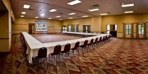 Texas Room A, T Bar M Resort Hotel & Conference Center, New Braunfels — his elegant executive room includes an acoustic partitioning wall that may be used to divide the space into two equal-sized rooms. Attractively decorated in Hill Country style, Texas Sage is our largest indoor meeting space, complete with a foyer that's the perfect spot for a gift table, bar, or registration table.
