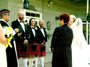 Scottish Wedding and Celtic Wedding Ceremony, Niagara Weddings and More, Niagara Falls — A Happy Lassie Presented to Her Groom